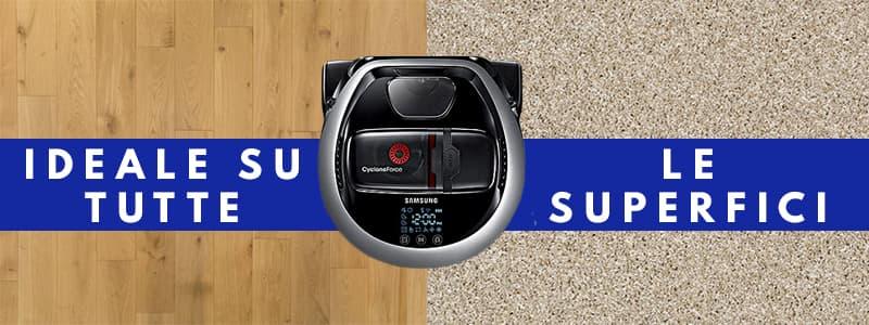 potenza aspirazione su tutte superifici robot aspirapolvere Samsung