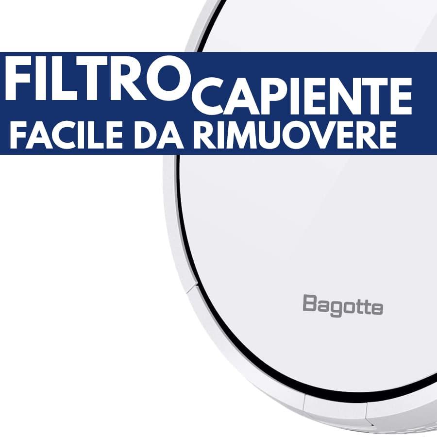 filtro capiente facile rimozione aspirapolvere robot Bagotte