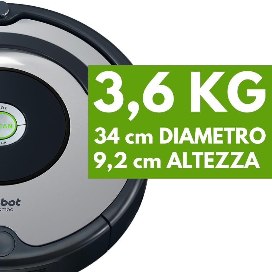 peso dimensioni robot aspirapolvere iRobot Roomba 615