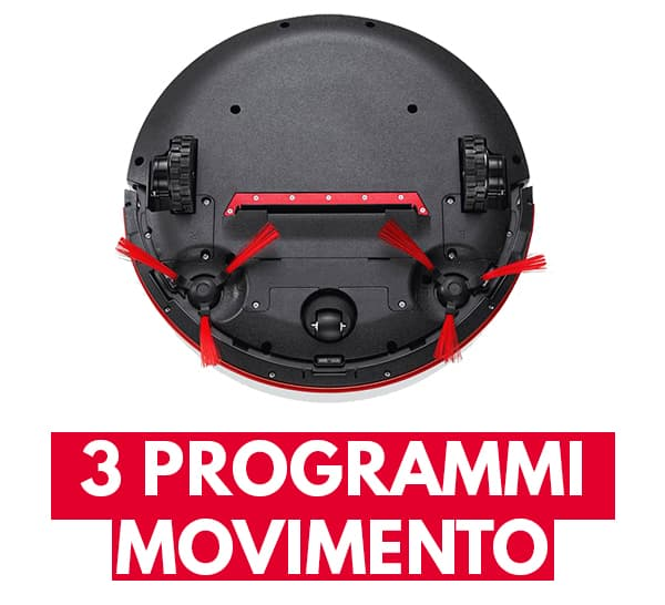 tre modalità movimento aspirapolvere robot Vileda VR 102